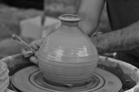 Lou Lourdeau's pottery pics, spinning clay and hands