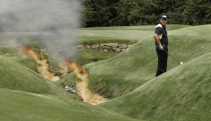 golf course with fire hazard