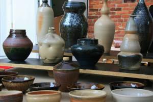 Lou Lourdeau's pics, shelves of pottery